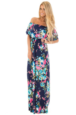 Navy Floral Off Shoulder Slinky Overlay Maxi Dress front full body