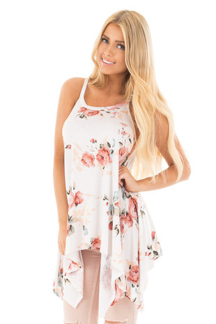 Ivory and Rose Floral Print Asymmetrical Tank Top front close up