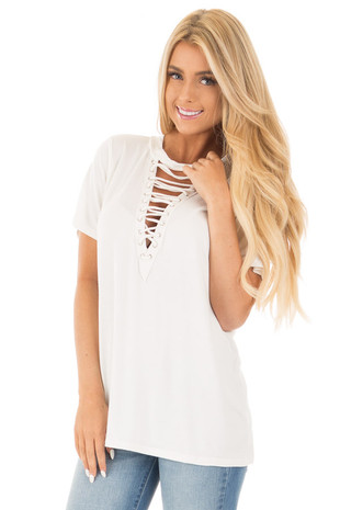 Off White Short Sleeve V Neck Lace Up Detail Top front close up
