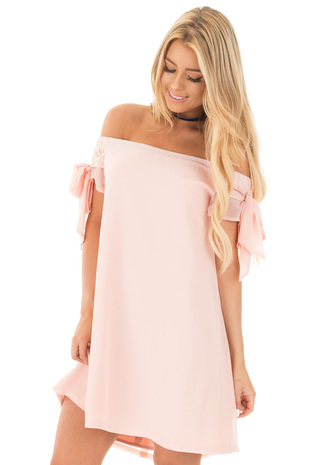 Light Peach Chiffon Off the Shoulder Dress with Tie Details front close up