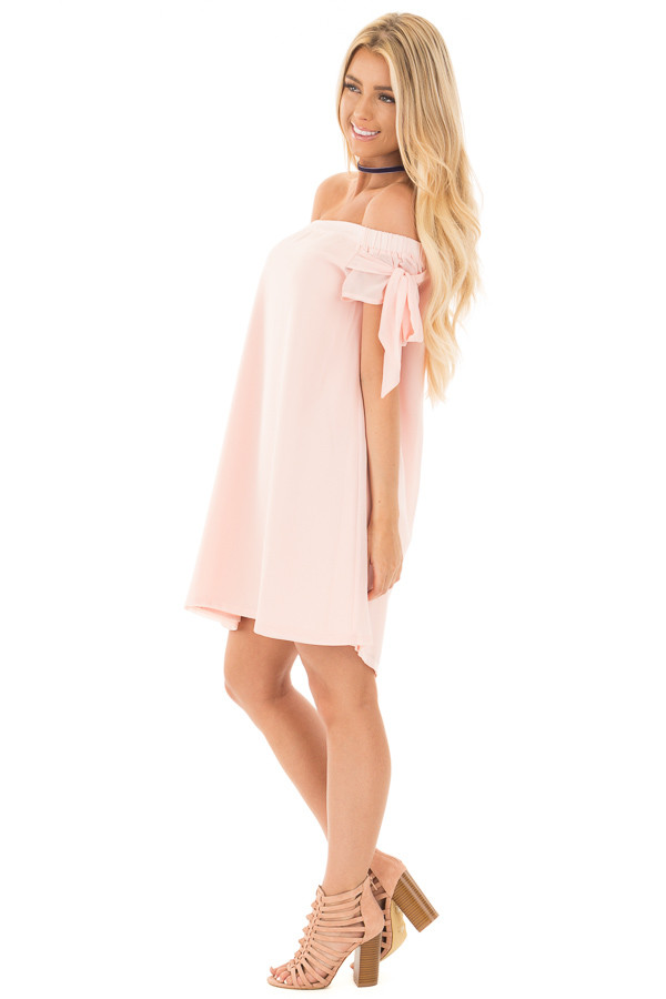 Light Peach Chiffon Off the Shoulder Dress with Tie Details side full body