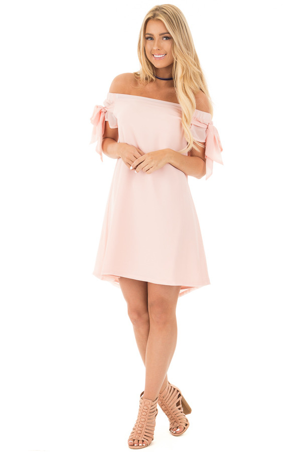 Light Peach Chiffon Off the Shoulder Dress with Tie Details front full body