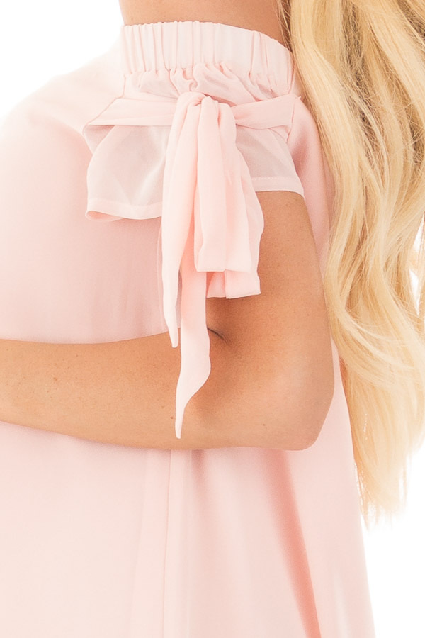 Light Peach Chiffon Off the Shoulder Dress with Tie Details detail