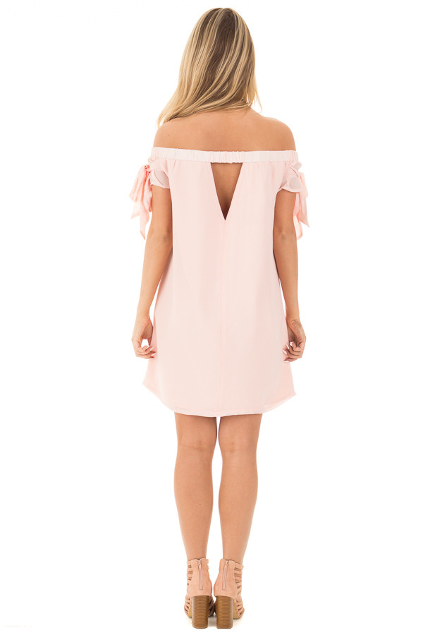 Light Peach Chiffon Off the Shoulder Dress with Tie Details back full body