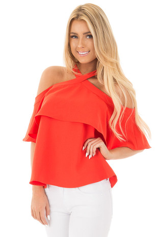Tomato Red Cold Shoulder Blouse with Cross Over High Neck front close up