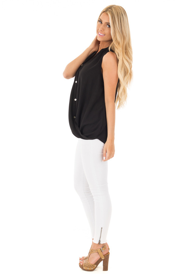 Black Button Up Sleeveless Top wth Bubble Bottom Detail side full body