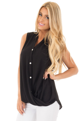 Black Button Up Sleeveless Top wth Bubble Bottom Detail front close up