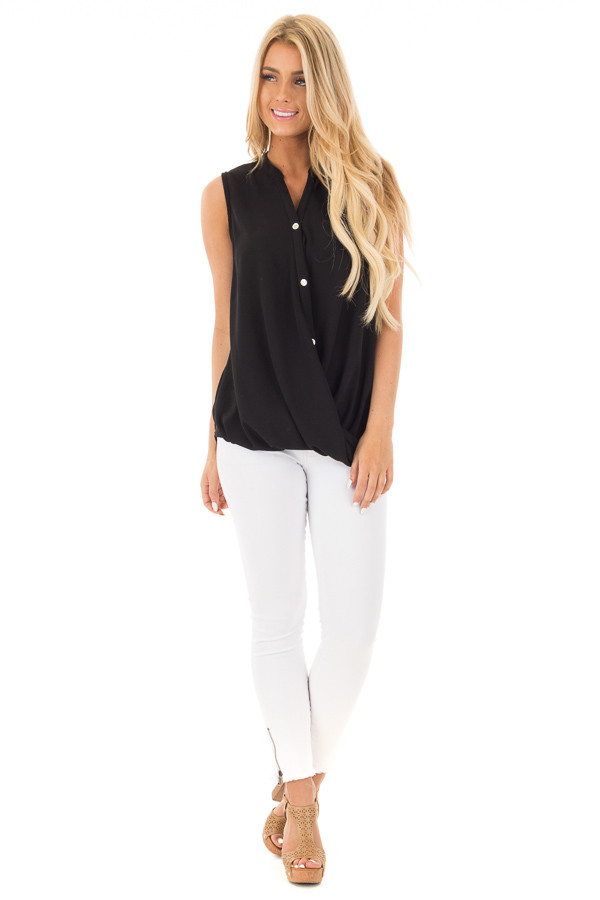 Black Button Up Sleeveless Top wth Bubble Bottom Detail front full body