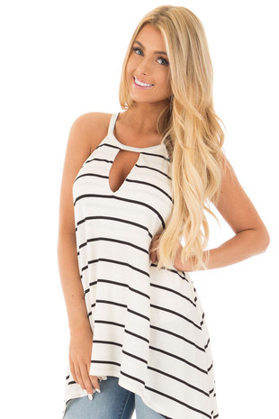 Black and Ivory Striped Halter Top with Keyhole Front Detail front close up