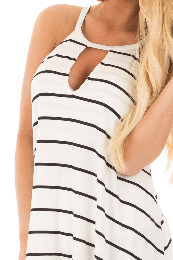 Black and Ivory Striped Halter Top with Keyhole Front Detail detail