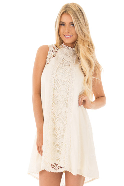 Natural Solid Dotted Mock Neck Dress with Crochet Details front close up