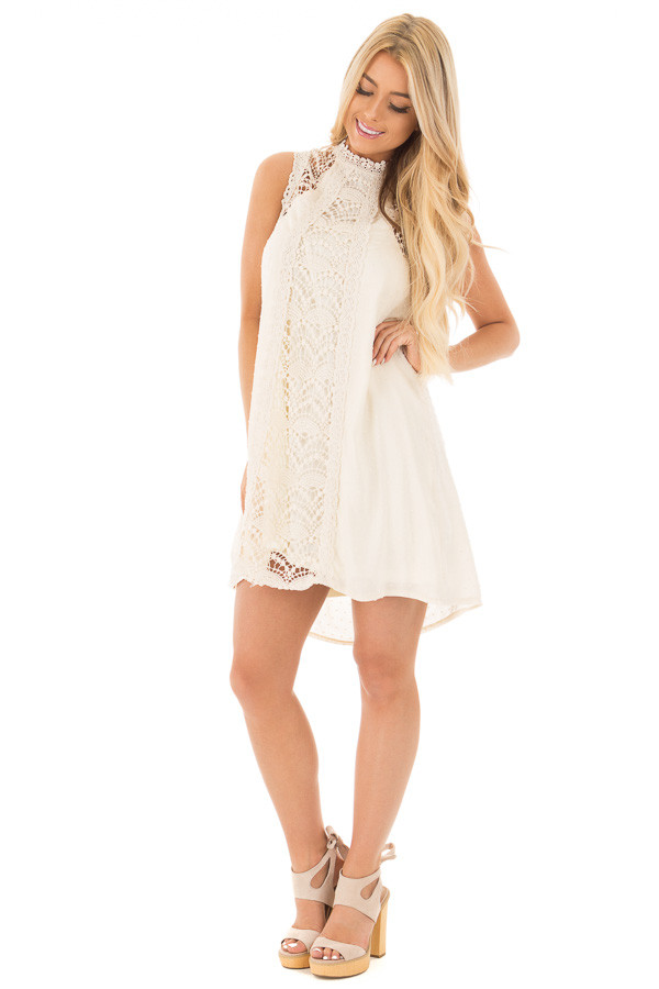 Natural Solid Dotted Mock Neck Dress with Crochet Details front full body