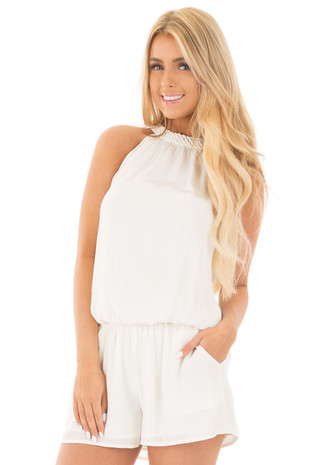 White Halter Romper with Braided Detail and Side Pockets front close up