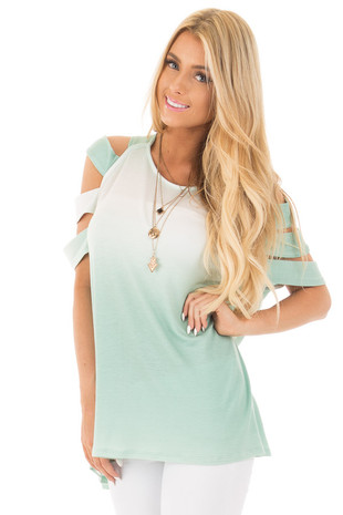 Mint Ombre Soft French Terry Top with Multiple Arm Straps front close up