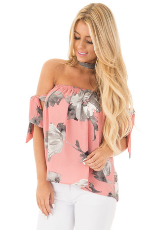 Rose Floral Print Off the Shoulder Top with Tie Sleeves front close up