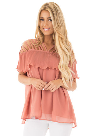 Peach Ruffle Overlay Top with Strappy Cold Shoulder Detail front close up