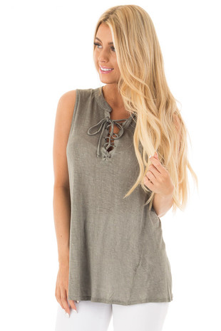 Olive Two Tone Lace Up Tunic Tank with Twisted Seam Detail front close up