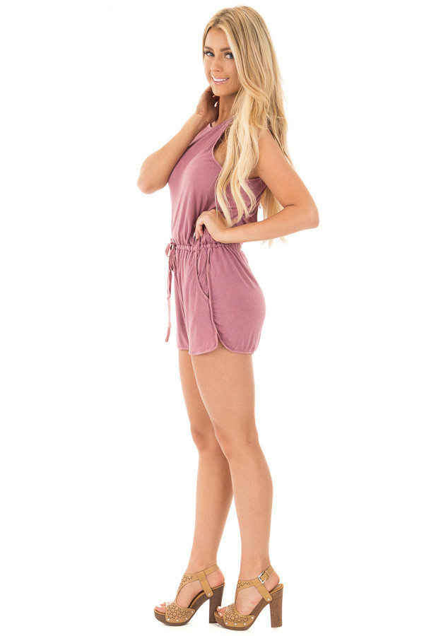 Deep Mauve Halter Romper with Side Pockets and Tie Detail side full body