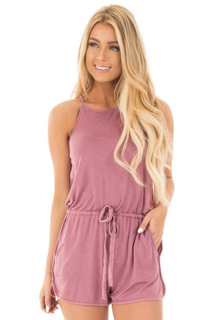 Deep Mauve Halter Romper with Side Pockets and Tie Detail front close up