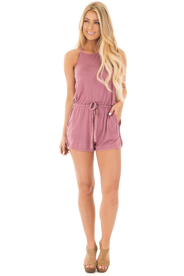 Deep Mauve Halter Romper with Side Pockets and Tie Detail front full body