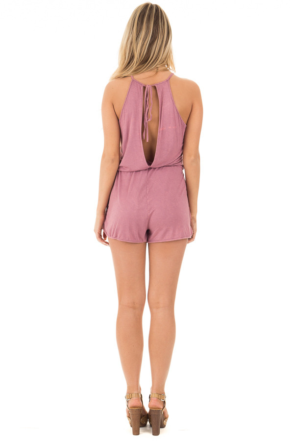 Deep Mauve Halter Romper with Side Pockets and Tie Detail back full body