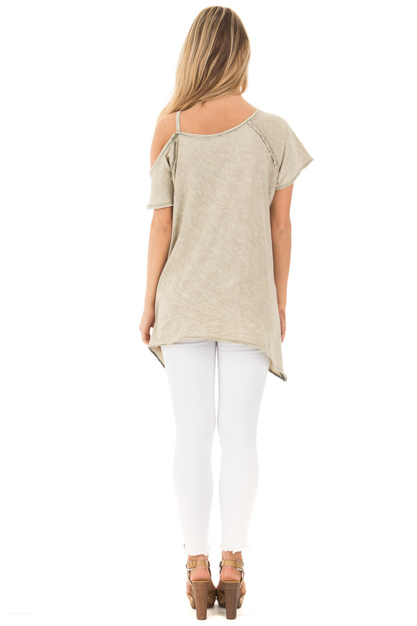 Dusty Olive Mineral Wash One Shoulder Tee back full body