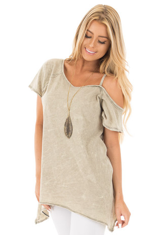 Dusty Olive Mineral Wash One Shoulder Tee front close up