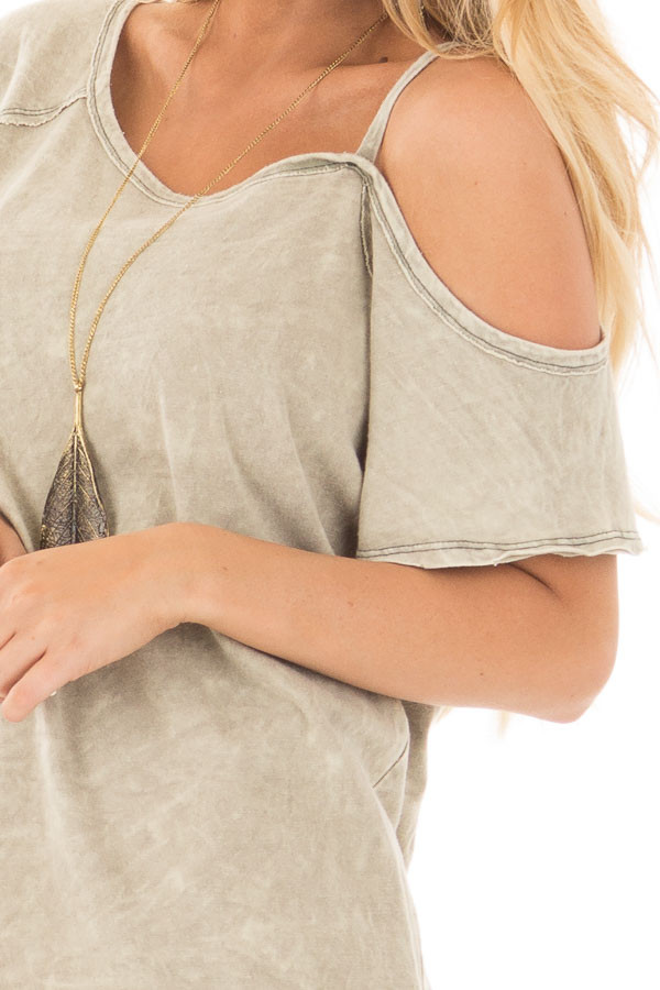 Dusty Olive Mineral Wash One Shoulder Tee detail close up