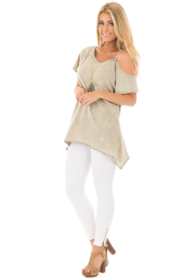 Dusty Olive Mineral Wash One Shoulder Tee front full body