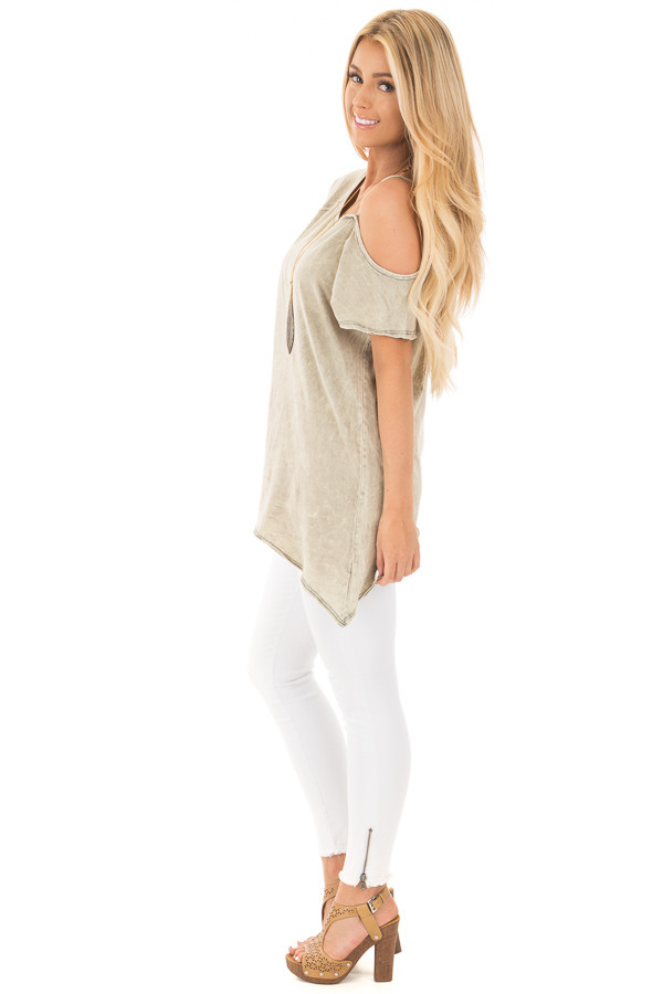 Dusty Olive Mineral Wash One Shoulder Tee side full body