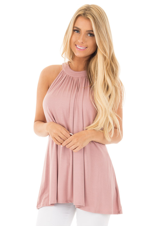 Dusty Blush High Neck Halter Tank with Button Detail front close up