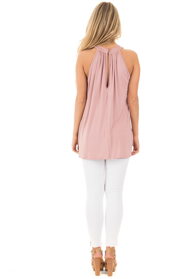 Dusty Blush High Neck Halter Tank with Button Detail back full body