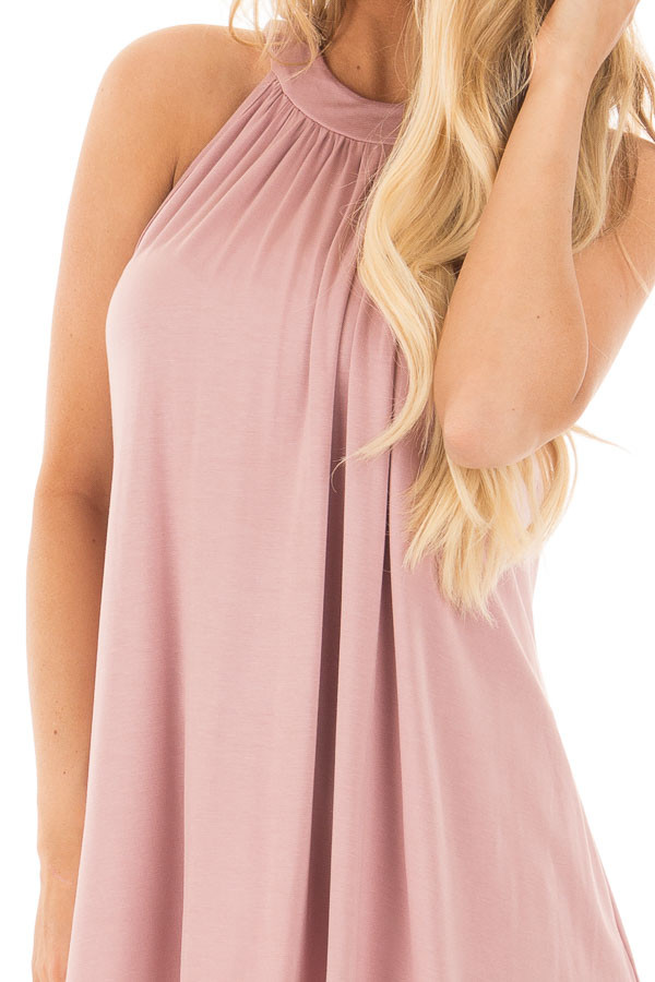 Dusty Blush High Neck Halter Tank with Button Detail detail