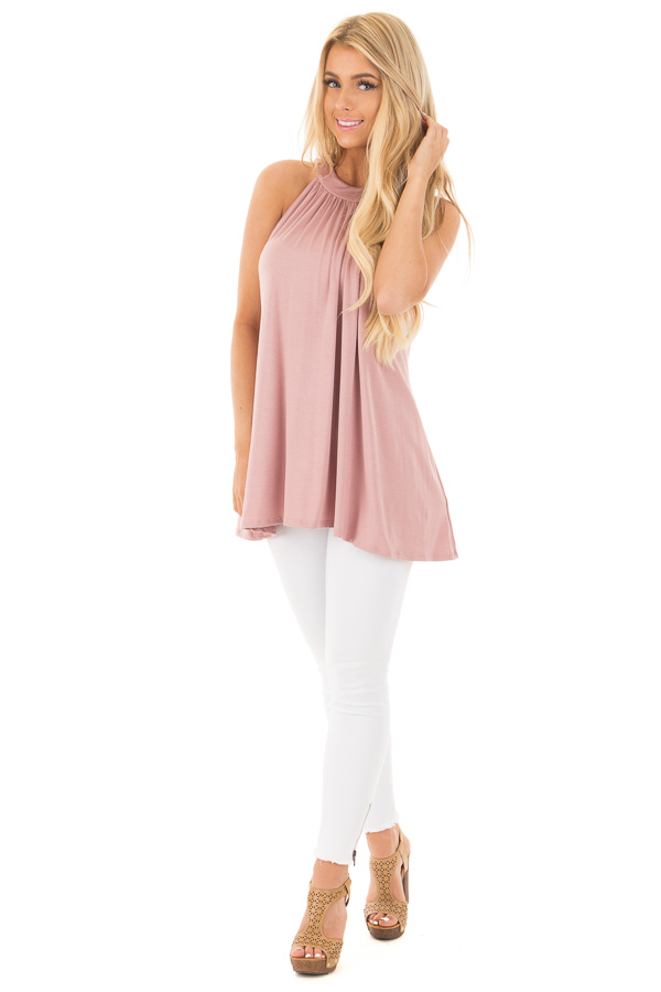 Dusty Blush High Neck Halter Tank with Button Detail front full body