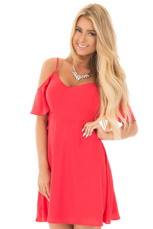 Vermilion Cold Shoulder Fit and Flare Dress front close up