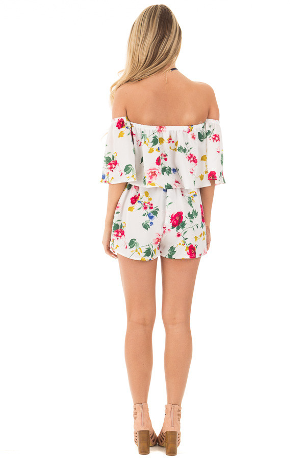 Ivory Floral Print Satin Crop Top and Shorts Set back full body