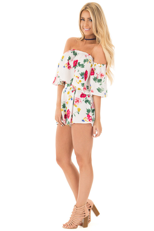Ivory Floral Print Satin Crop Top and Shorts Set side full body
