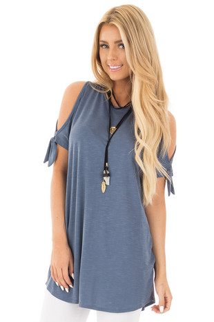 Denim Colored Cold Shoulder Tunic Top with Tie Sleeves front close up