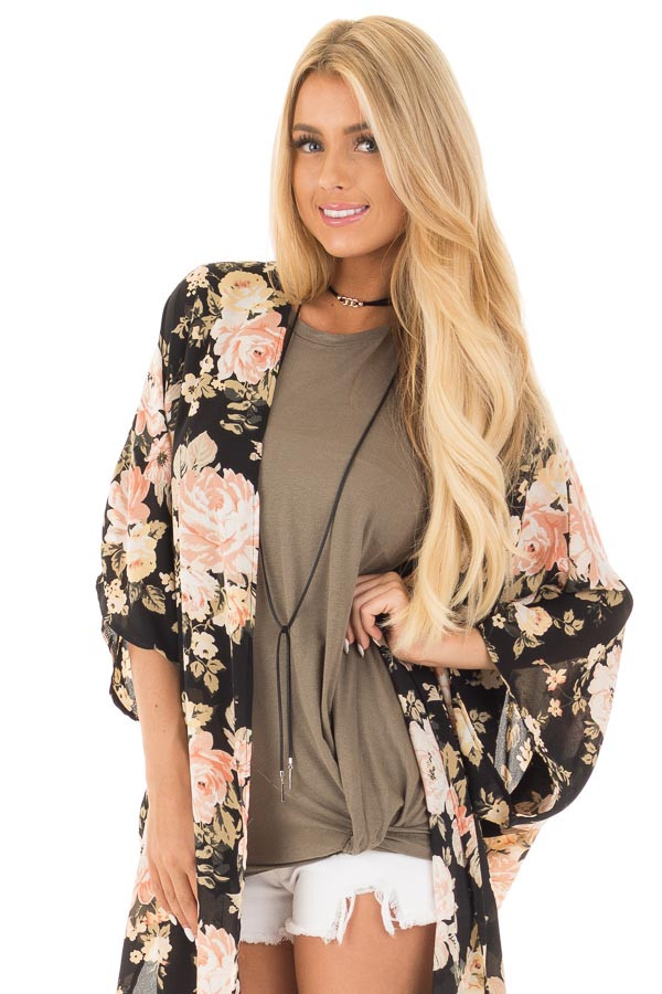 Black and Blush Floral Print Long Kimono front close up