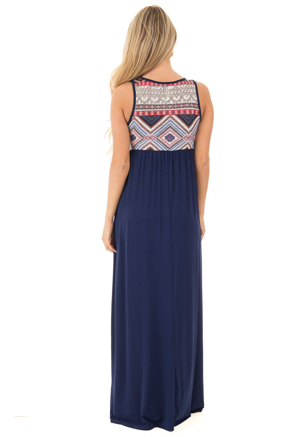 Navy Blue and Multi Color Tribal Print Maxi Dress | Lime Lush