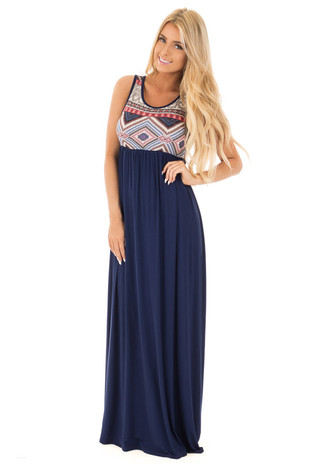 Navy Multi Color Racerback Maxi Dress front full body