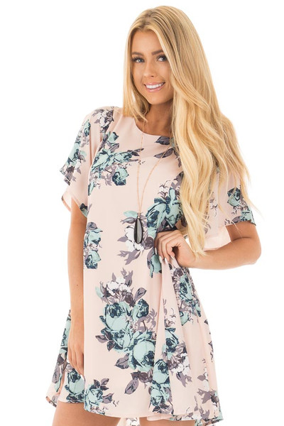 Blush Floral Print Chiffon Swing Dress with Large Key Hole Back front close up