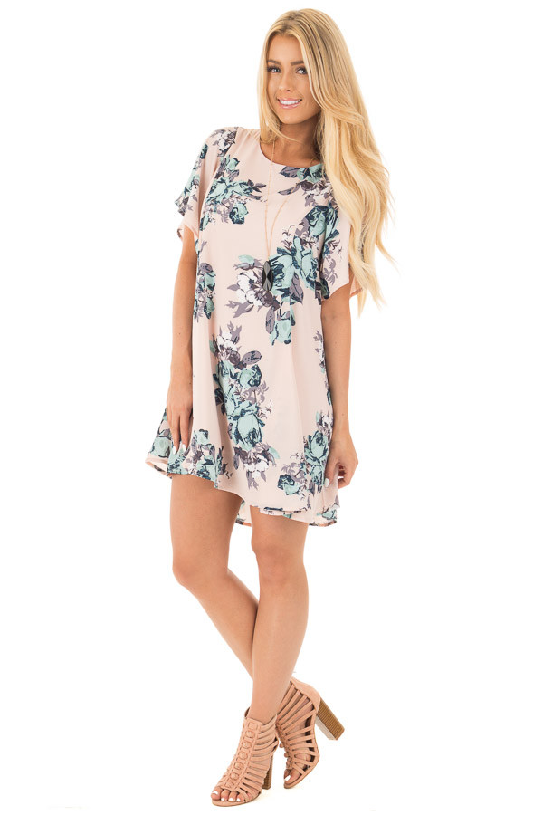 Blush Floral Print Chiffon Swing Dress with Large Key Hole Back front full body