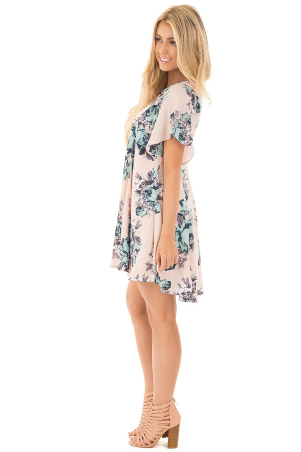 Blush Floral Print Chiffon Swing Dress with Large Key Hole Back side full body