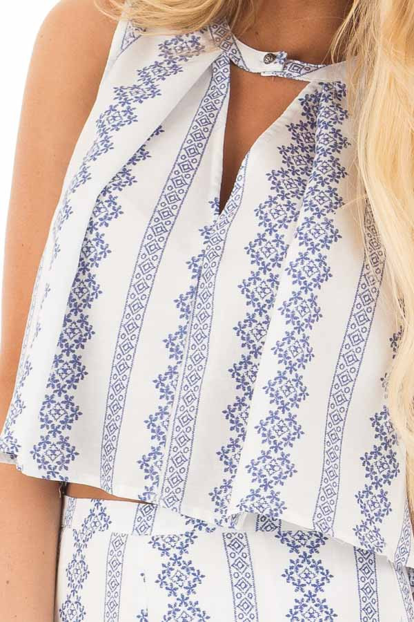 China Blue and White Print Tank Top and Wide Leg Pant Set detail