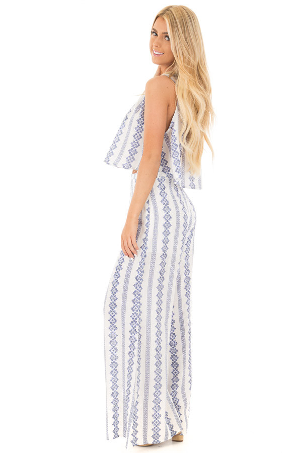 China Blue and White Print Tank Top and Wide Leg Pant Set side full body