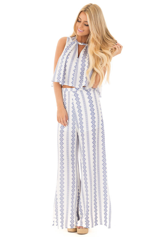 China Blue and White Print Tank Top and Wide Leg Pant Set front full body