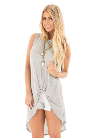 Heather Grey Hi Low Tank with Knotted Front Detail front close up