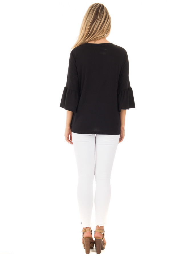 Black Soft Knit Top with Bell Sleeve Detail back full body