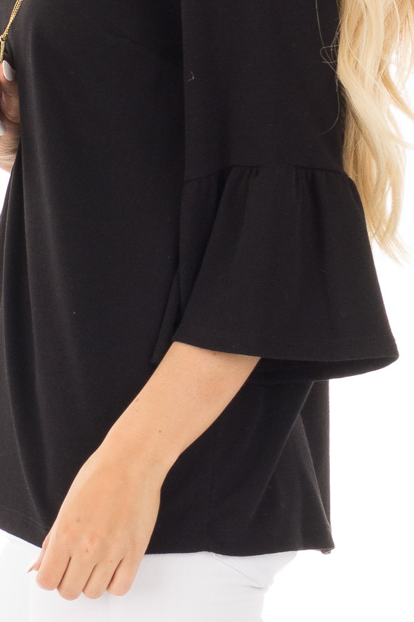 Black Soft Knit Top with Bell Sleeve Detail side detail